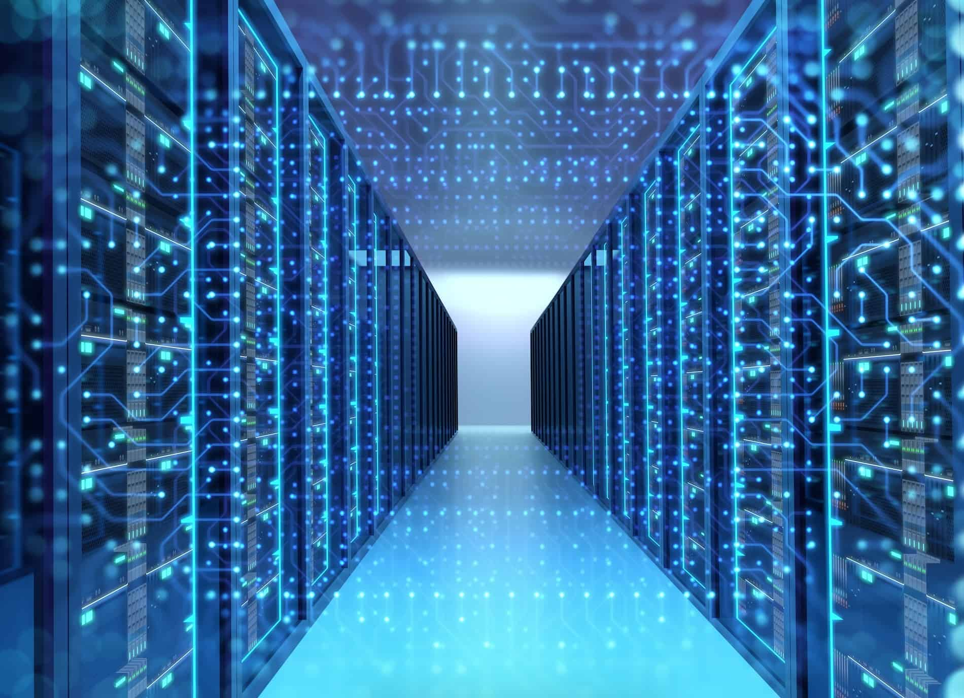 Pictured: an artist's rendering of the insider of a data center with transparent server racks extending into the background. It symbolizes the concept of a hyperscale data center.