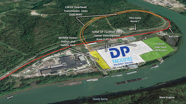 dp facilities aerial view of its build-to-suit data center campus in hannibal ohio